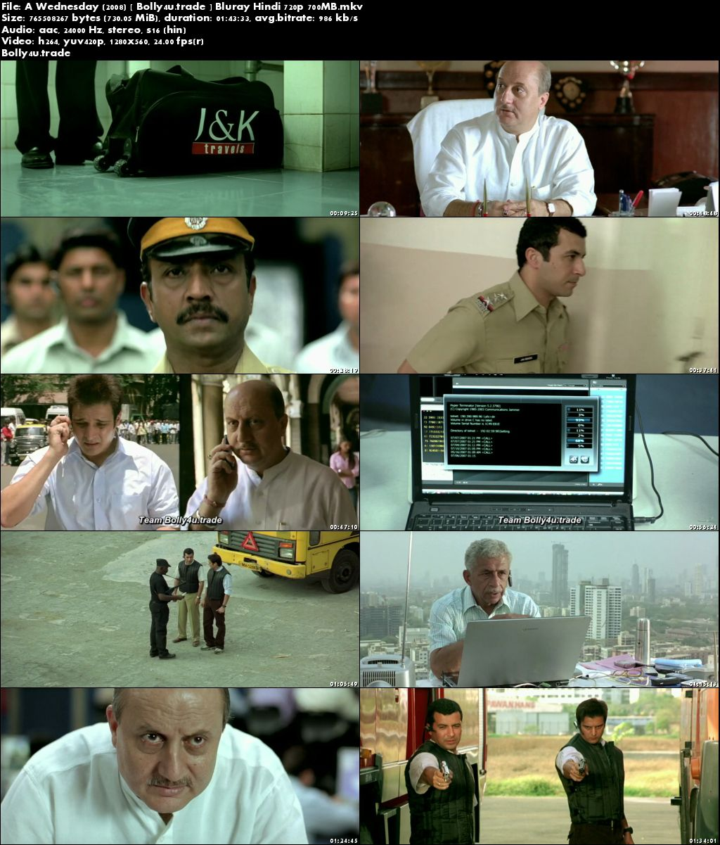 A Wednesday 2008 BluRay 300Mb Full Hindi Movie Download 480p