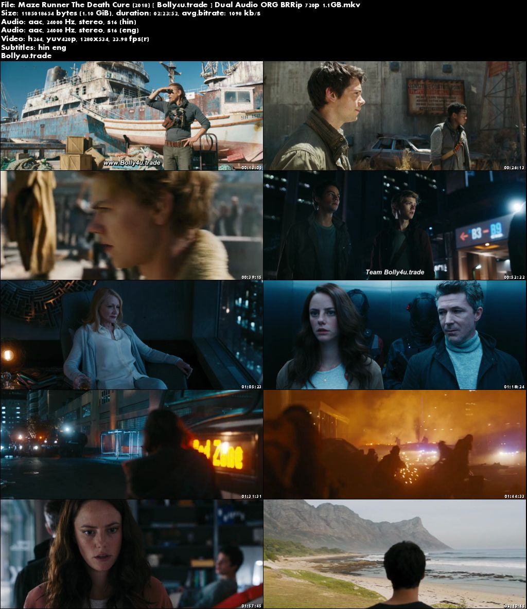 Maze Runner The Death Cure 2018 BRRip 450Mb Hindi Dual Audio ORG 480p ESub Download