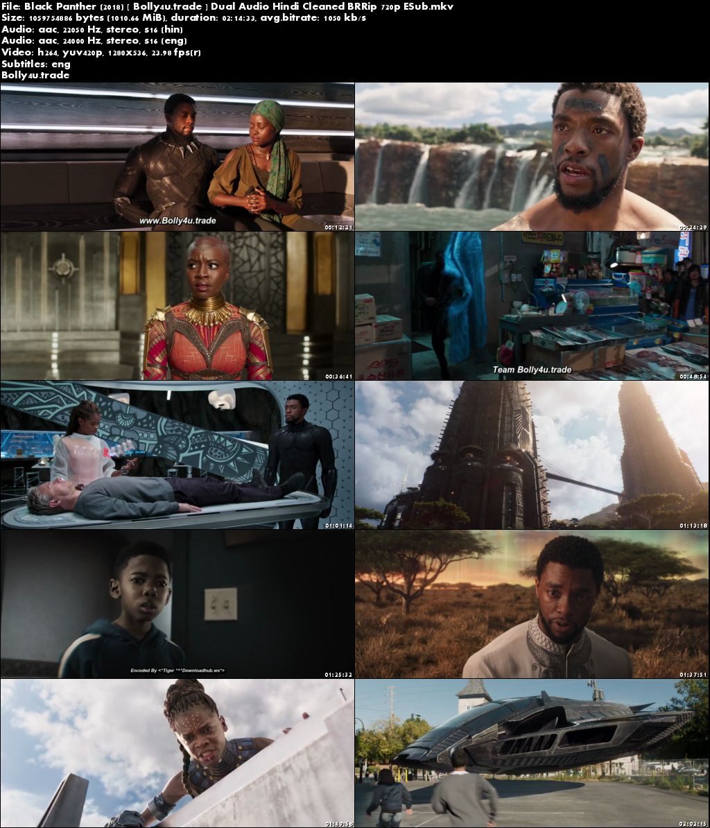 Black Panther 2018 BRRip 999MB Hindi Dual Audio 720p ESub Download