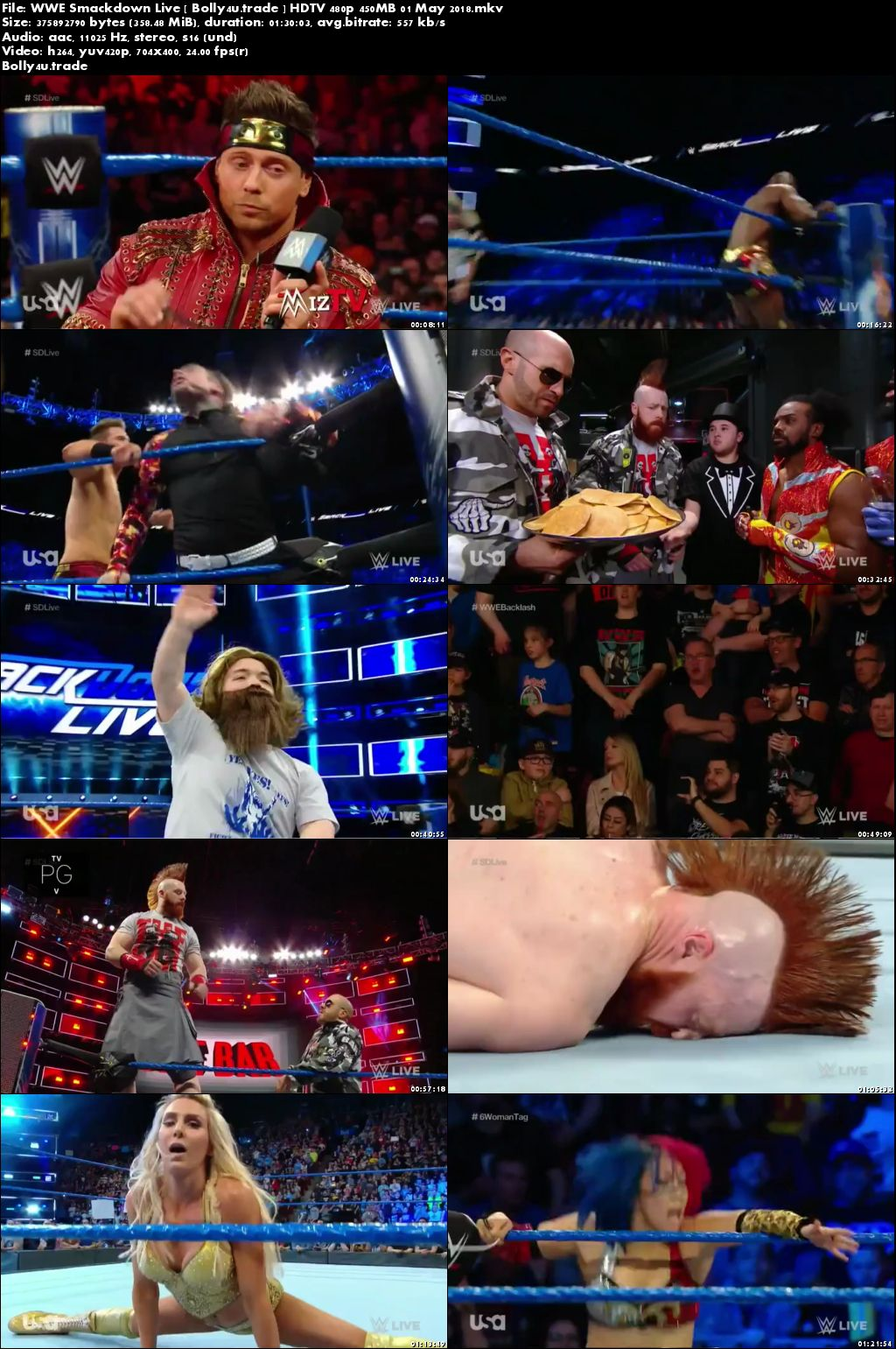 WWE Smackdown Live HDTV 480p 350MB 01 May 2018 Download
