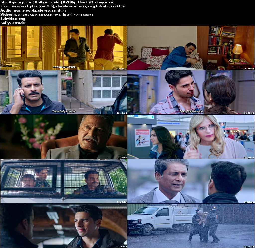 Aiyaary 2018 DVDRip 450Mb Full Hindi Movie Download 480p