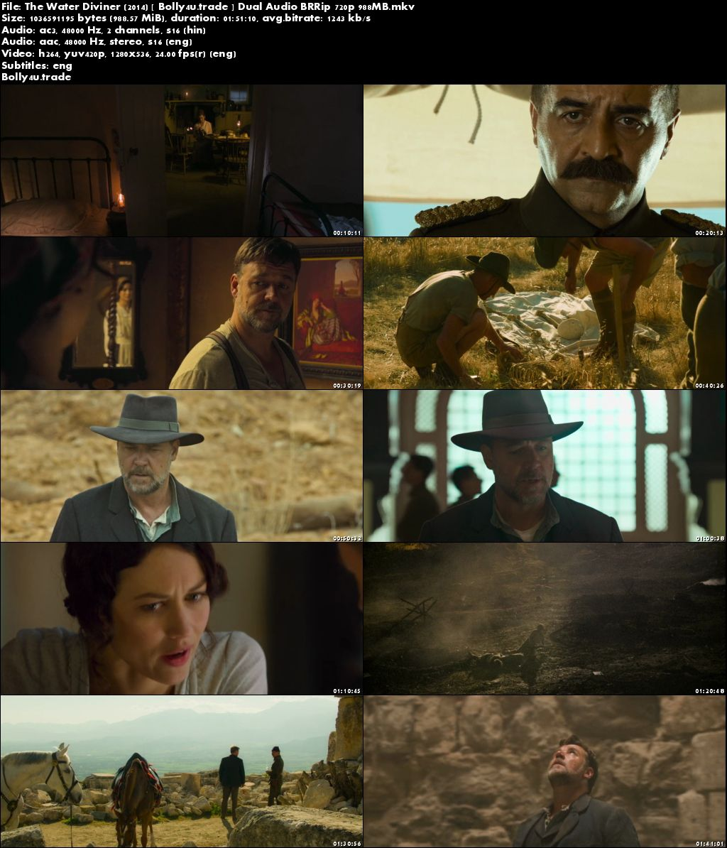The Water Diviner 2014 BRRip 350MB Hindi Dual Audio 480p Download