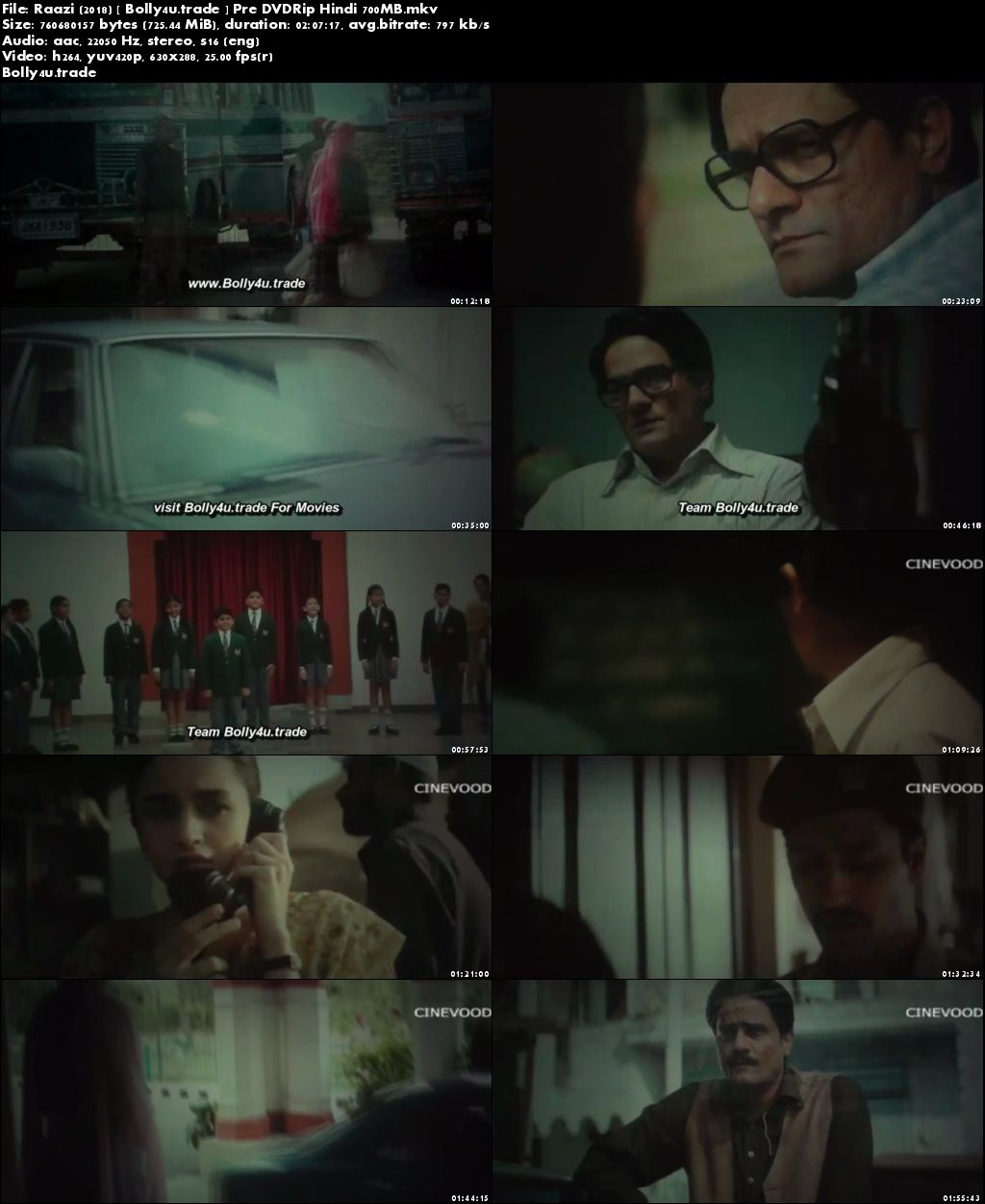 Raazi 2018 Pre DVDRip 350Mb Full Hindi Movie Download 480p