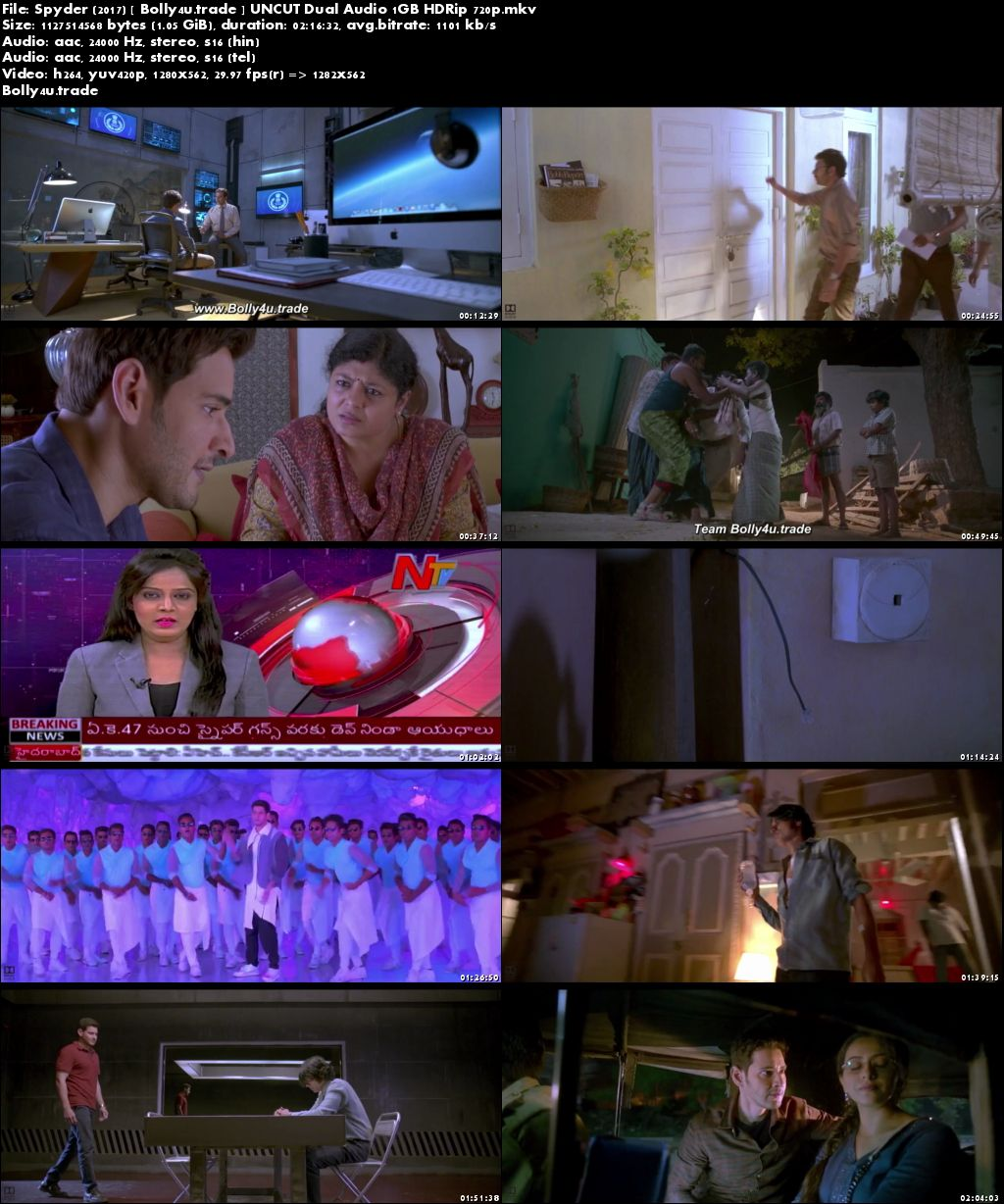 Spyder 2017 HDRip 1Gb UNCUT Hindi Dual Audio 720p Download