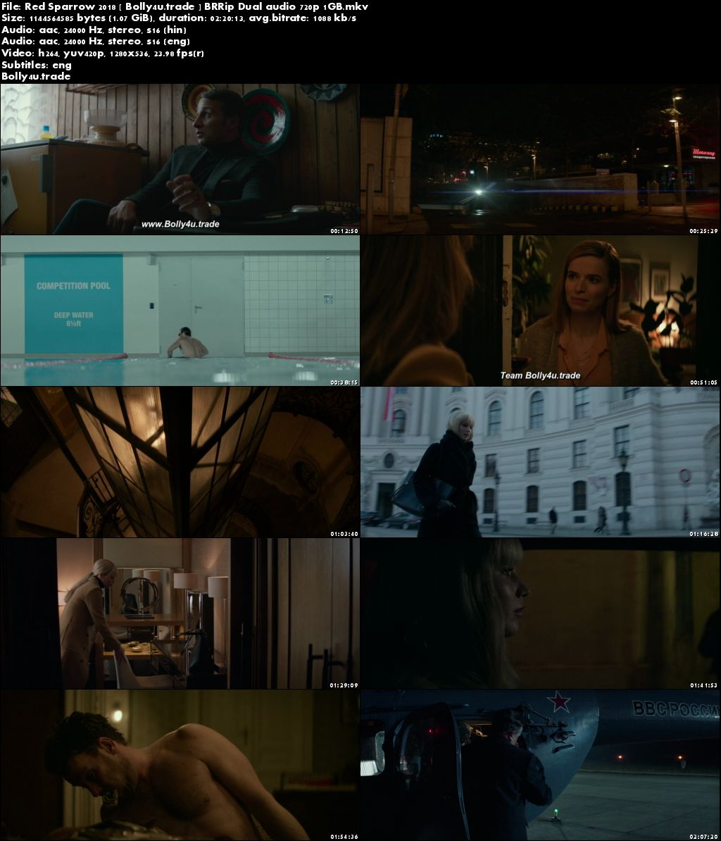 Red Sparrow 2018 BRRip 450MB Hindi Dual Audio ORG 480p ESub Download