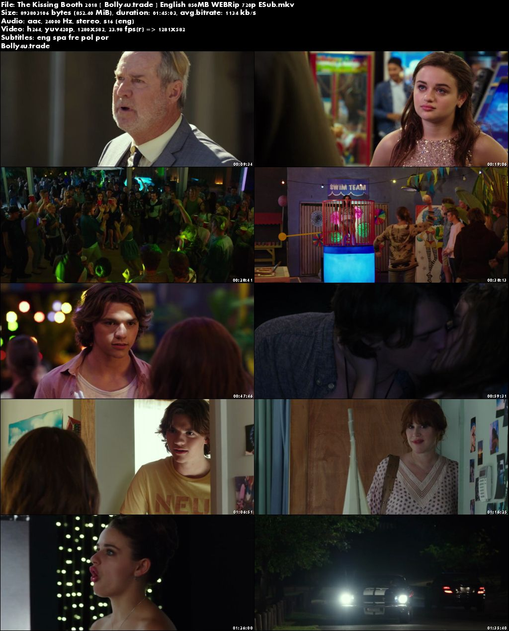The Kissing Booth 2018►Two Thousand Eighteen►Two Thousand Eighteen WEB-DL 850Mb English (720p►1280 x 720 pixels) ESub Download