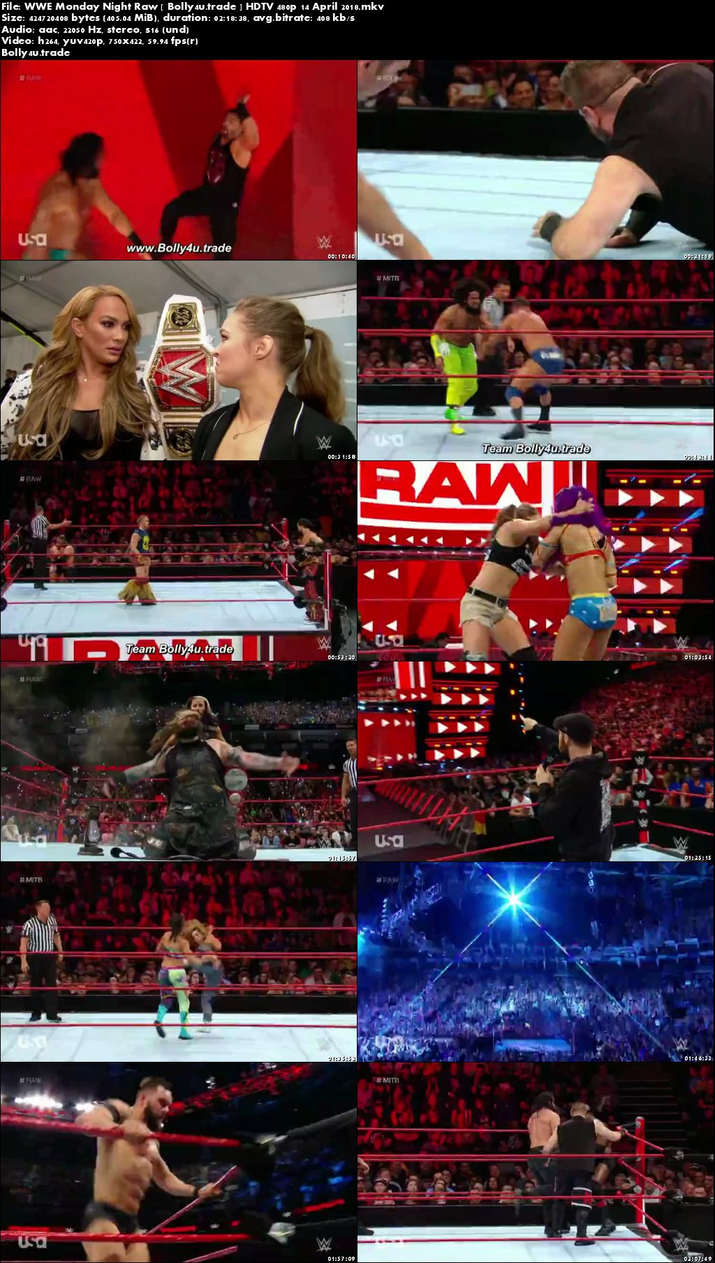 WWE Monday Night Raw HDTV 400MB 480p 14 April 2018 Download