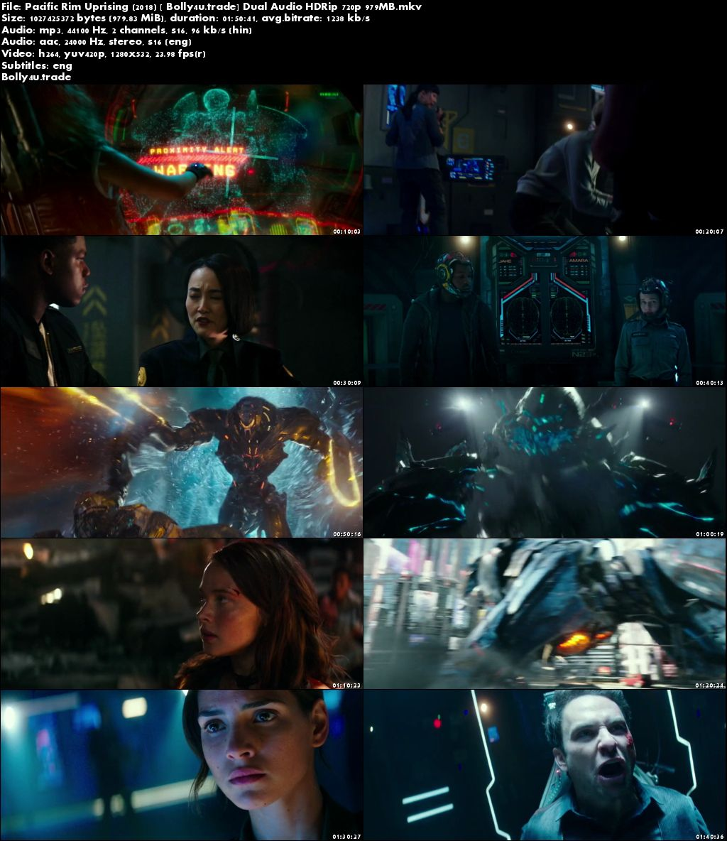 Pacific Rim Uprising 2018 HDRip 950MB Hindi Dual Audio 720p ESub Download