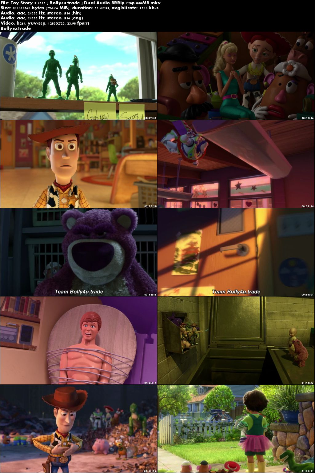 Toy Story 3 2010 BluRay 800Mb Hindi Dual Audio 720p Download