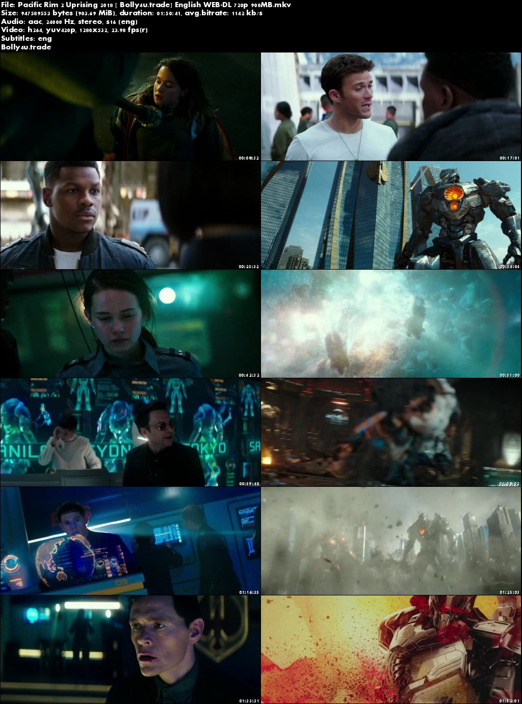 Pacific Rim 2 Uprising 2018 WEB-DL 900MB English 720p ESub Download