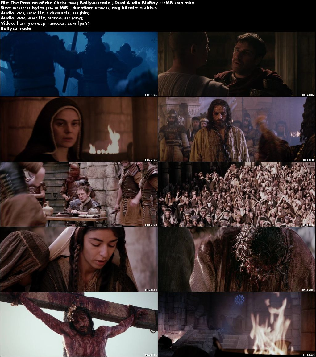 The Passion of The Christ 2004 BRRip 800MB Hindi Dual Audio 720p Download