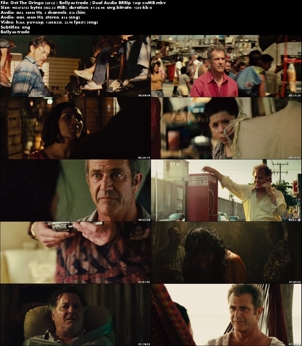 Get The Gringo 2012 BRRip 850MB Hindi Dual Audio 720p Download