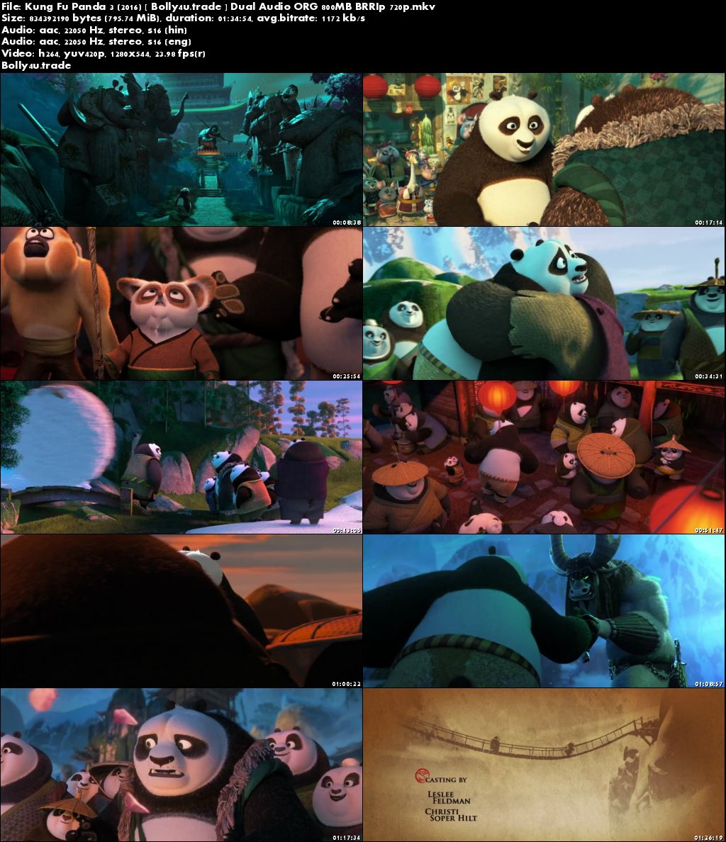 Kung Fu Panda 3 2016 BRRip 300MB Hindi Dual Audio ORG 480p Download