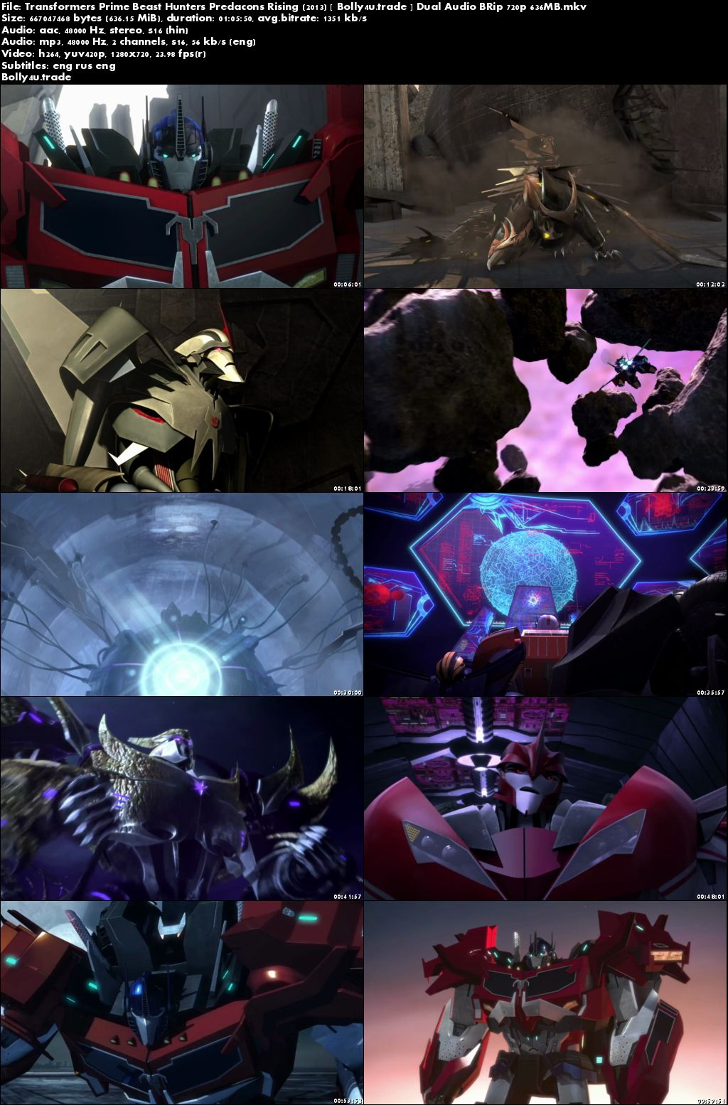Transformers Prime Beast Hunters Predacons Rising 2013 BRRip 600MB Hindi Dual Audio 720p Download