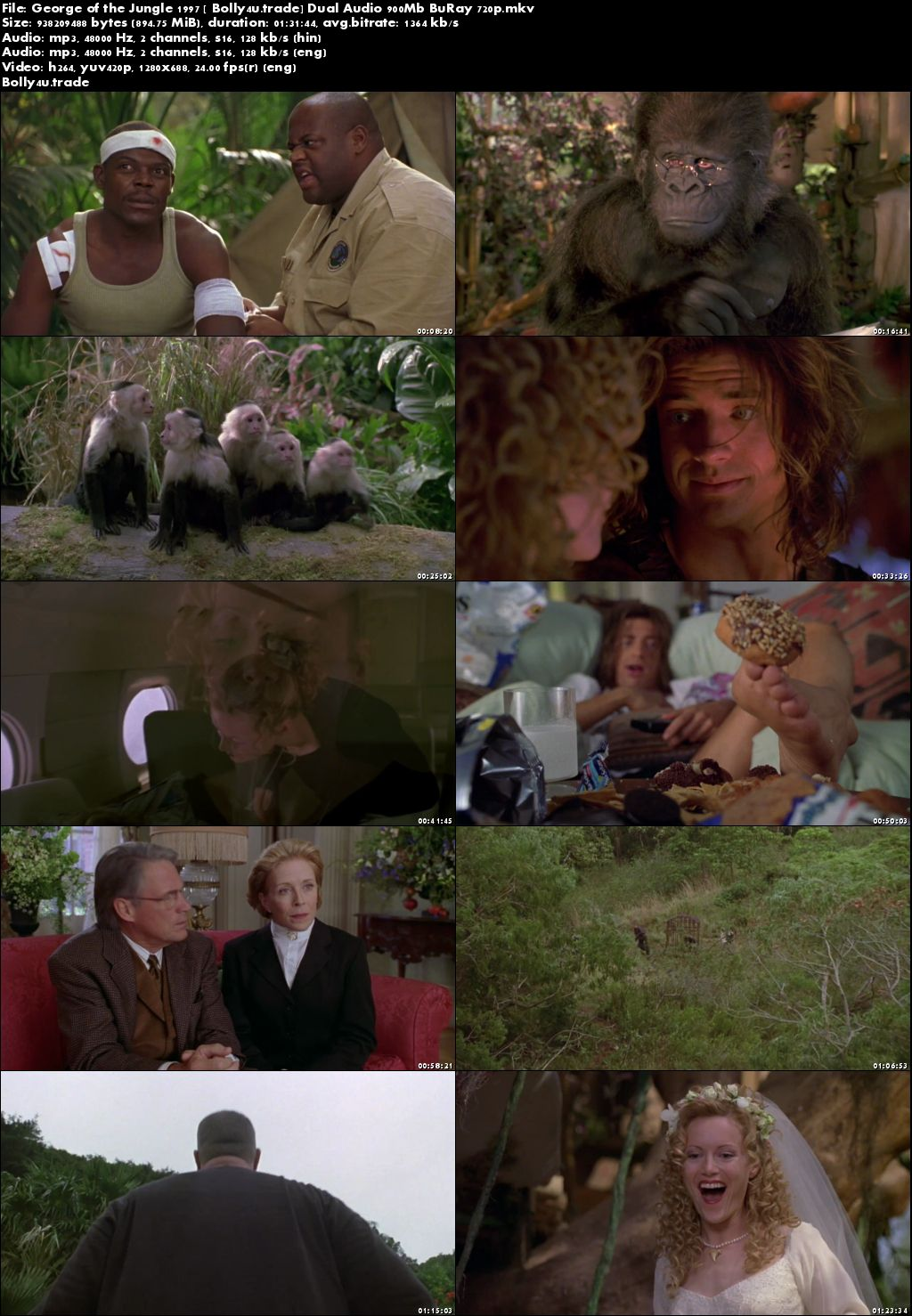 George of the Jungle 1997 BRRip 300Mb Hindi Dual Audio 480p Download
