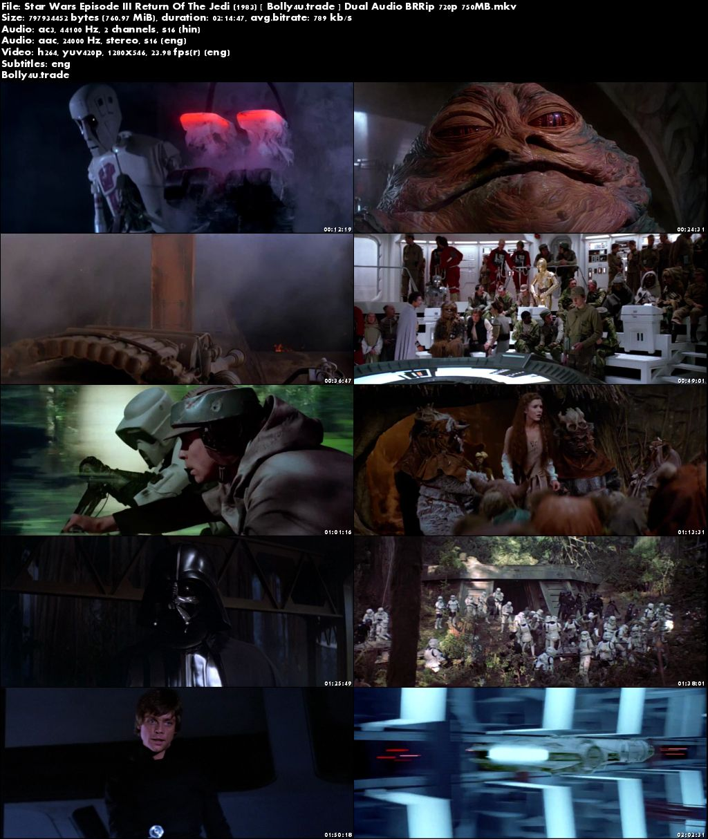 Star Wars Episode III Return Of The Jedi 1983 BRRip 750Mb Hindi Dual Audio 720p Download