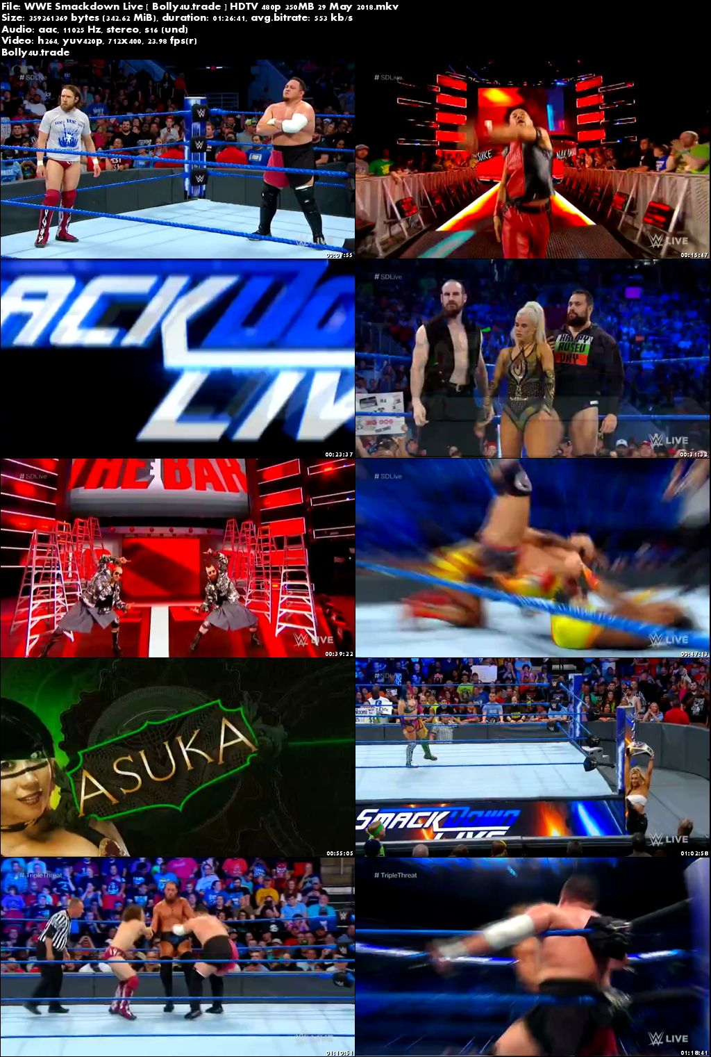 WWE Smackdown Live HDTV 480p 350MB 29 May 2018 Download