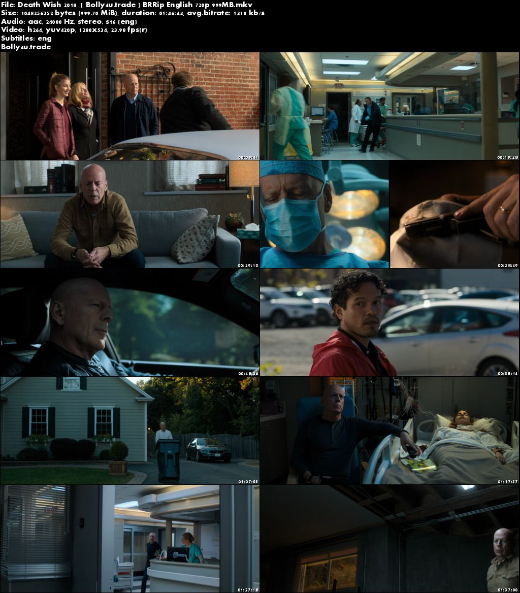 Death Wish 2018 BRRip 999MB English 720p ESub Download