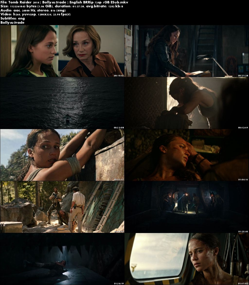 Tomb Raider 2018 BRRip 1GB English 720p ESub Download