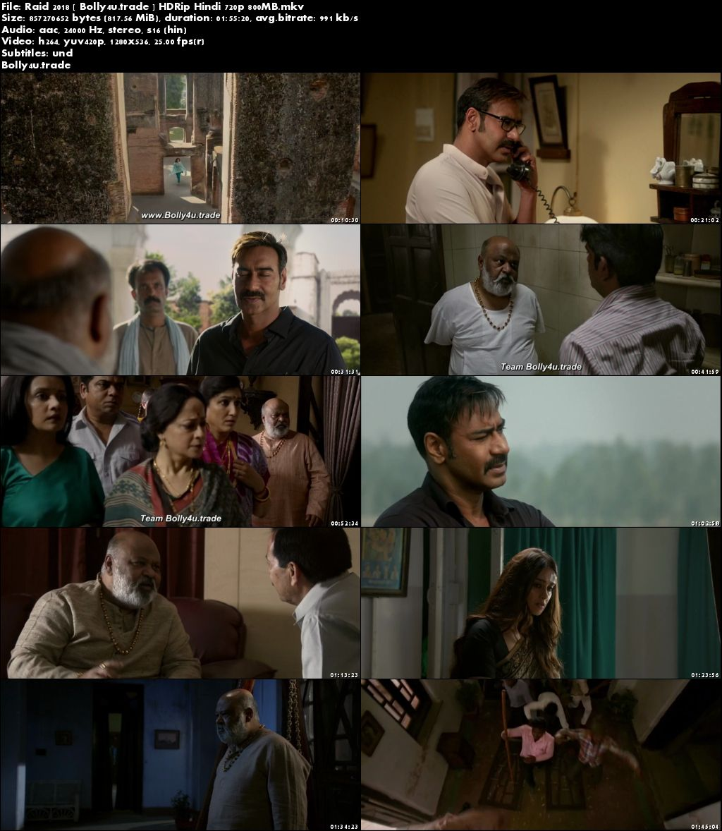 Raid 2018►Two Thousand Eighteen►Two Thousand Eighteen HDRip 800MB Full Hindi Movie Download (720p►1280 x 720 pixels)