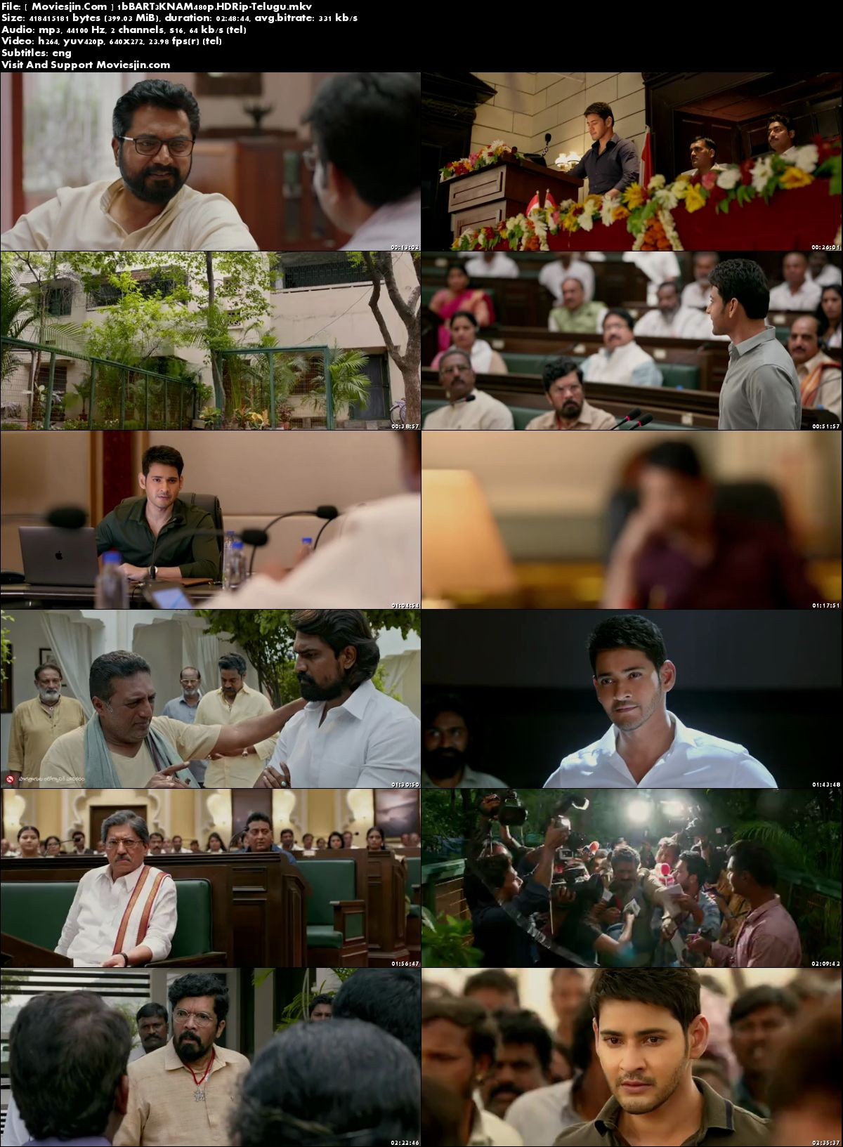 Watch Online Bharat Ane Nenu 2018 HEVC Download Telugu Movie HD 890MB 720p Esub Full Movie Download mkvcage