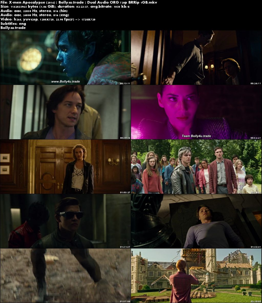 X-Men Apocalypse 2016 BluRay 1GB Hindi Dual Audio ORG 720p ESub Download