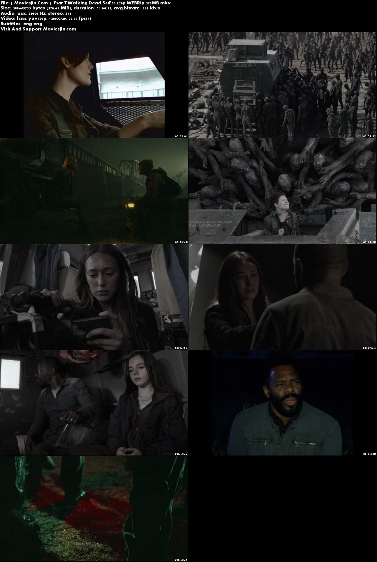 Watch Online Fear the Walking Dead S04E08 WEBRip 375MB x264 720p ESub Full Download mkvcage
