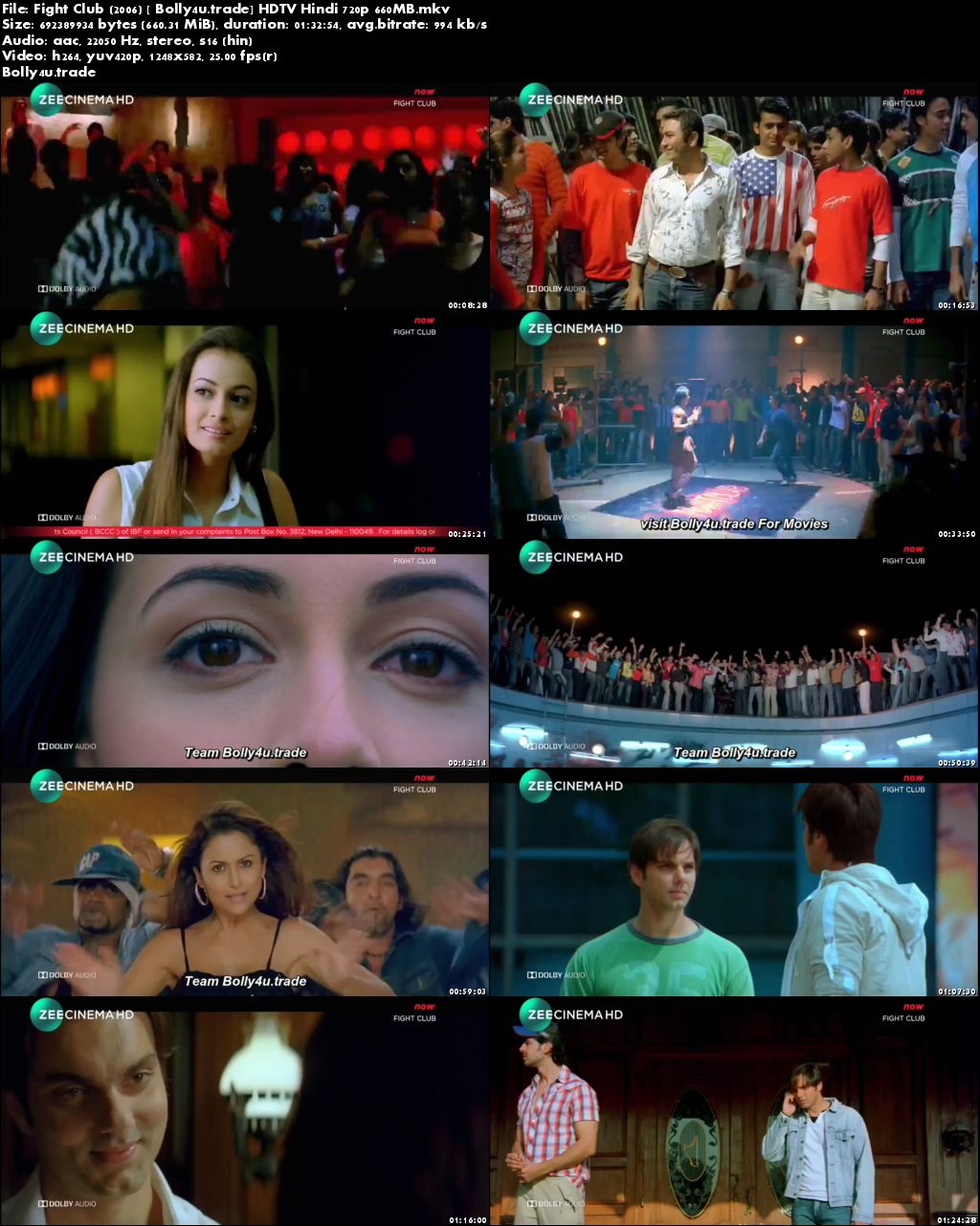 Fight Club 2006 HDTV 650MB Full Hindi Movie Download 720p