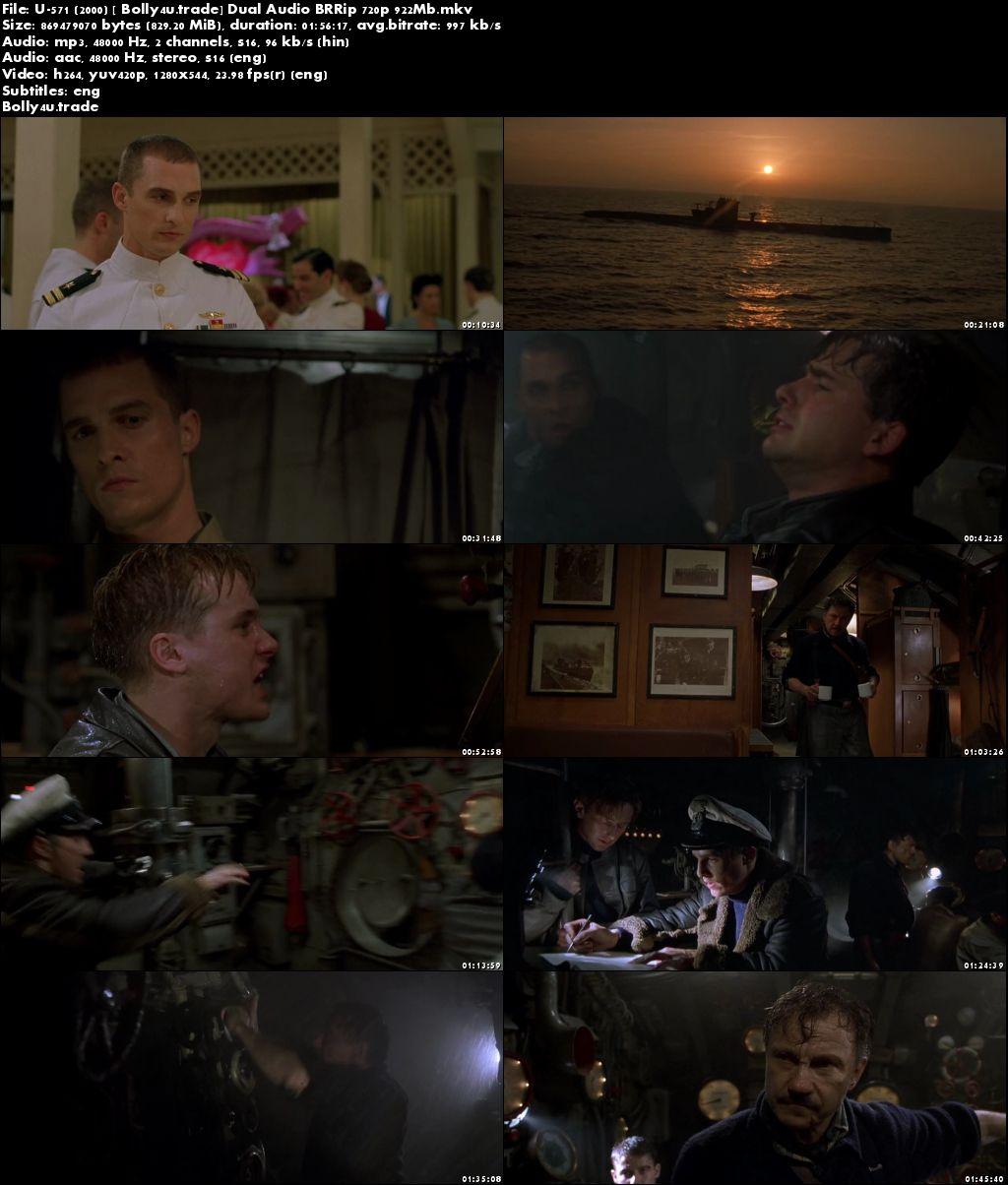 U-571 (2000) BluRay 350Mb Hindi Dual Audio 480p ESub Download