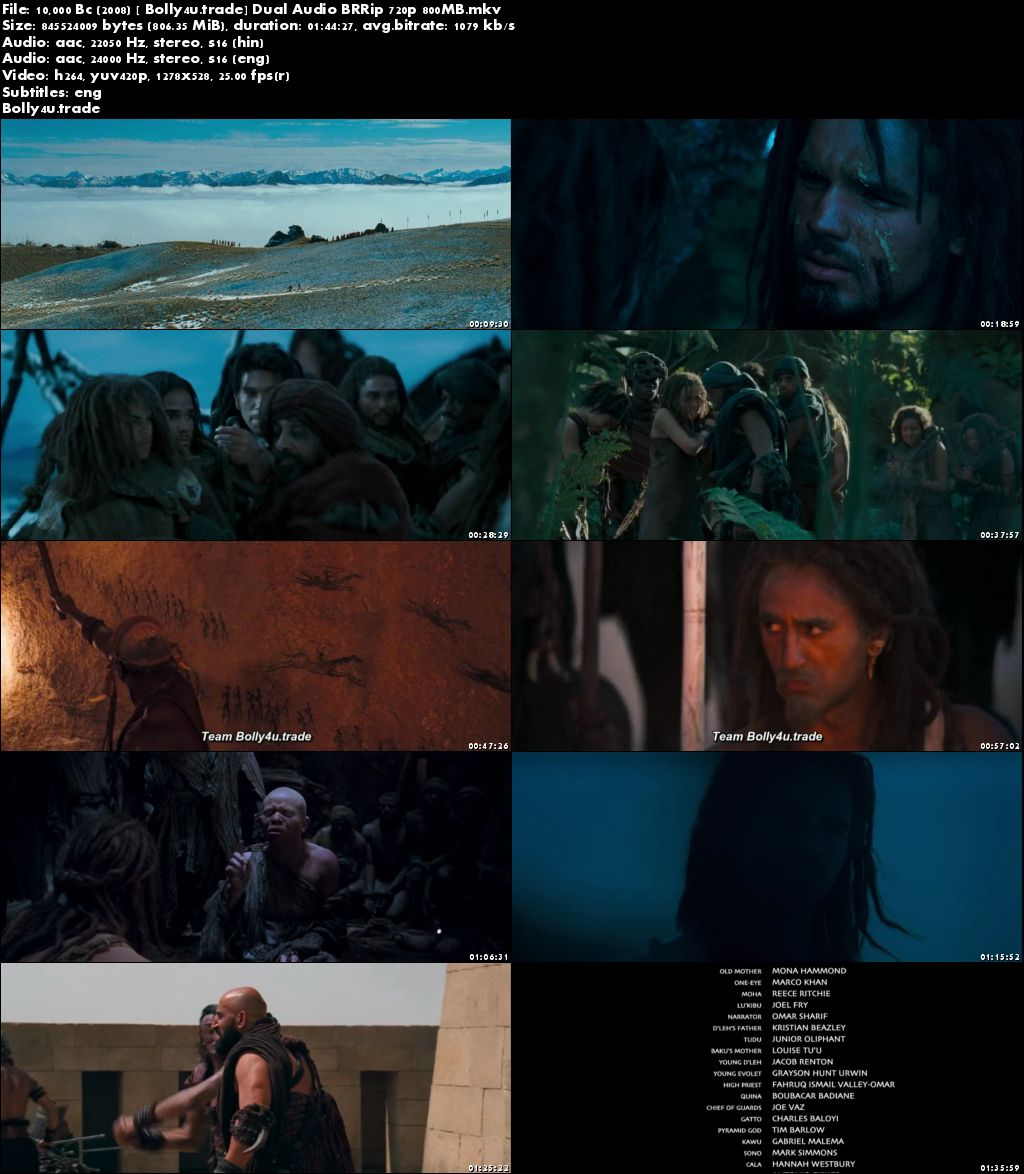 10,000 BC 2008 BRRip 800MB Hindi Dual Audio 720p Download