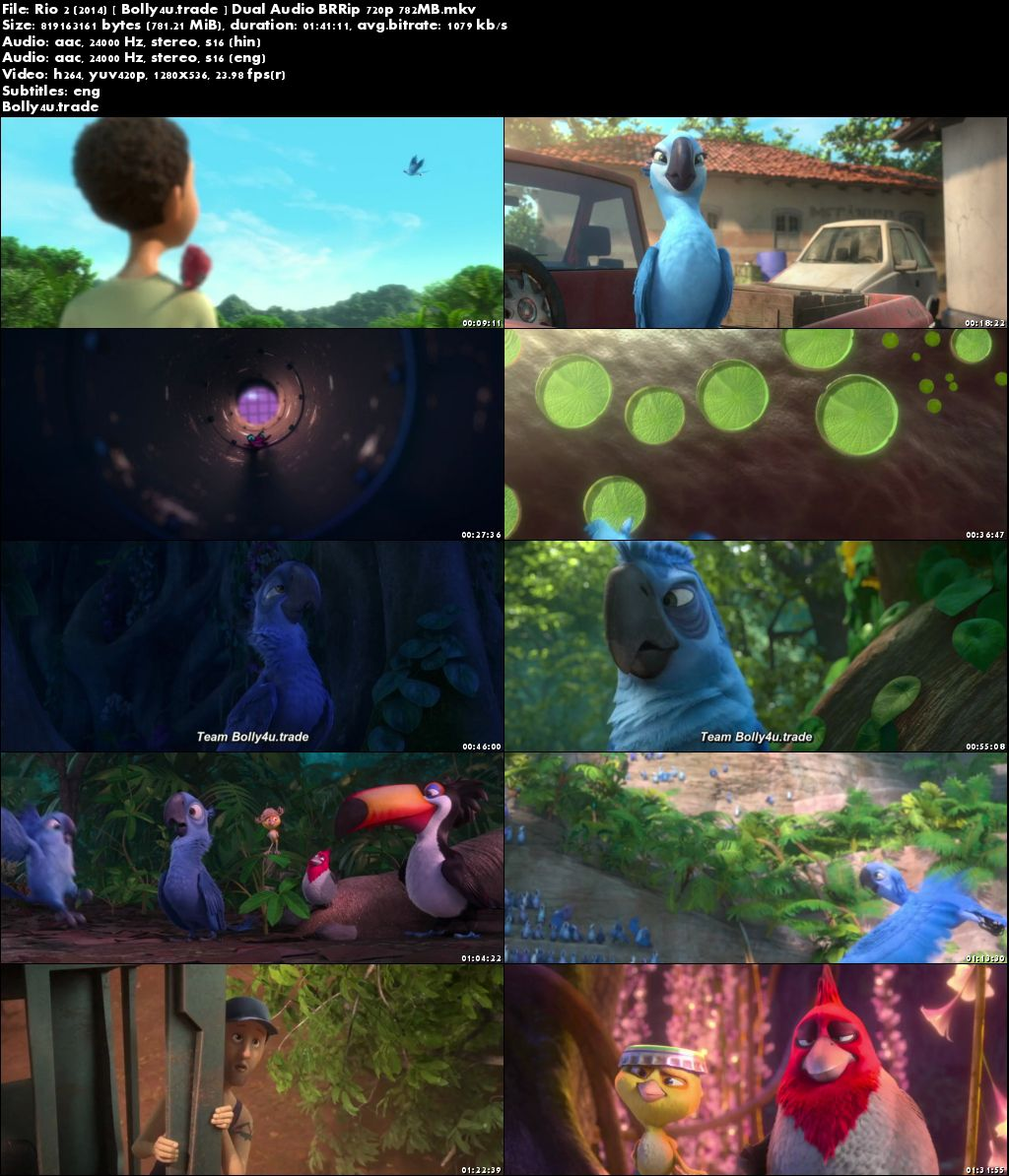 Rio 2 2014 BluRay 300MB Hindi Dual Audio 480p Download
