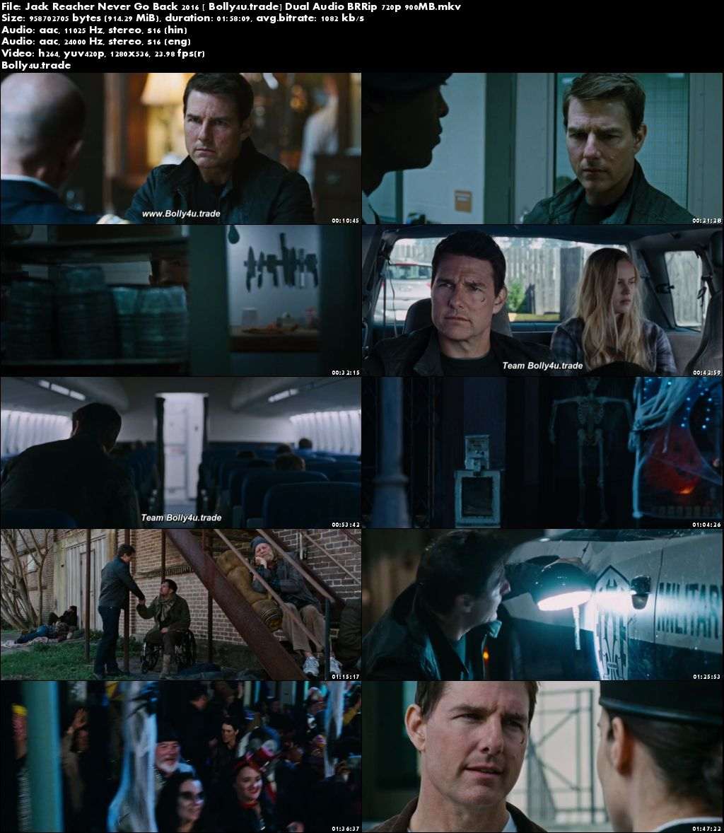 Jack Reacher Never Go Back 2016 BRRip 400MB Hindi Dual Audio 480p Download