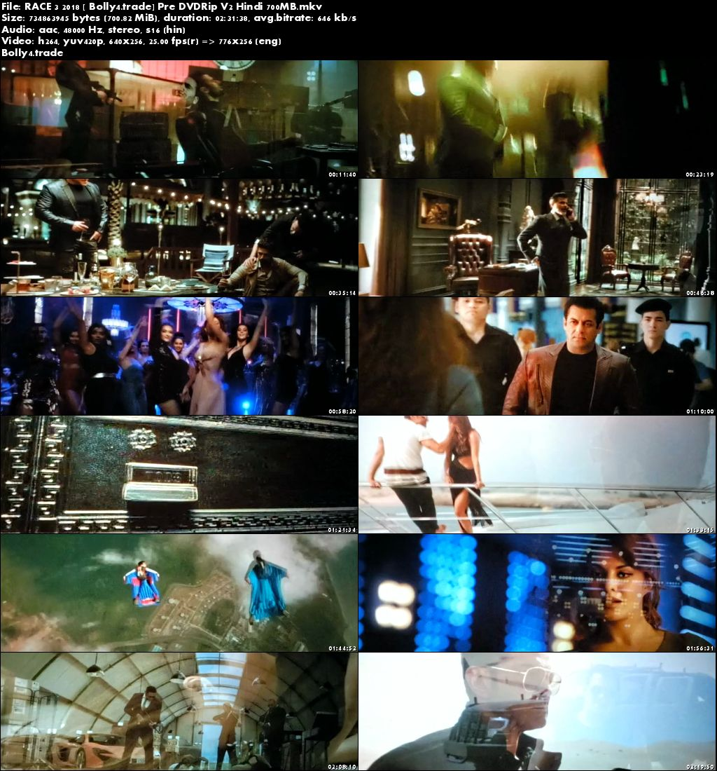 Race 3 2018 pDVDRip V2 700Mb Full Hindi Movie Download x264