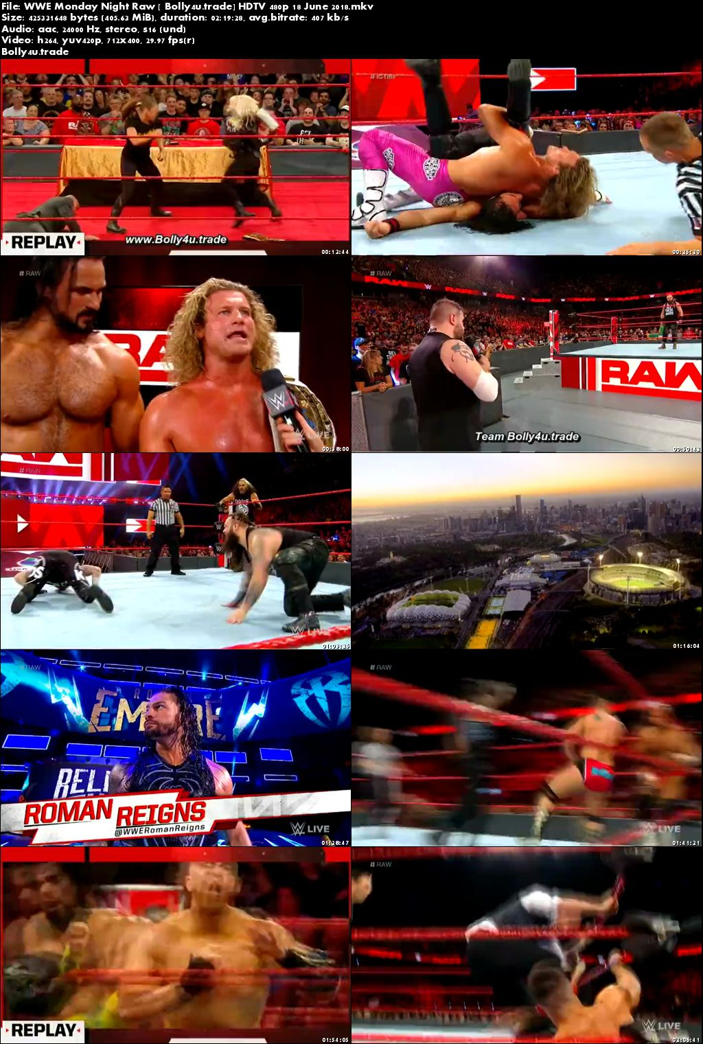 WWE Monday Night Raw HDTV 480p 400Mb 18 June 2018 Download