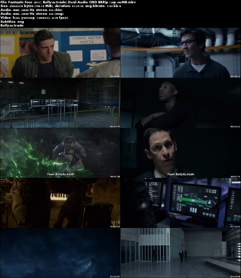 Fantastic Four 2015 BluRay 350MB Hindi Dual Audio ORG 480p ESub Download