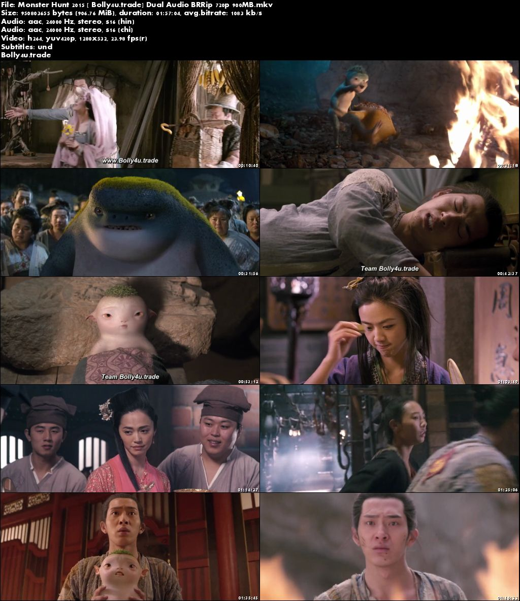 Monster Hunt 2015 BRRip 350MB Hindi Dual Audio 480p Download