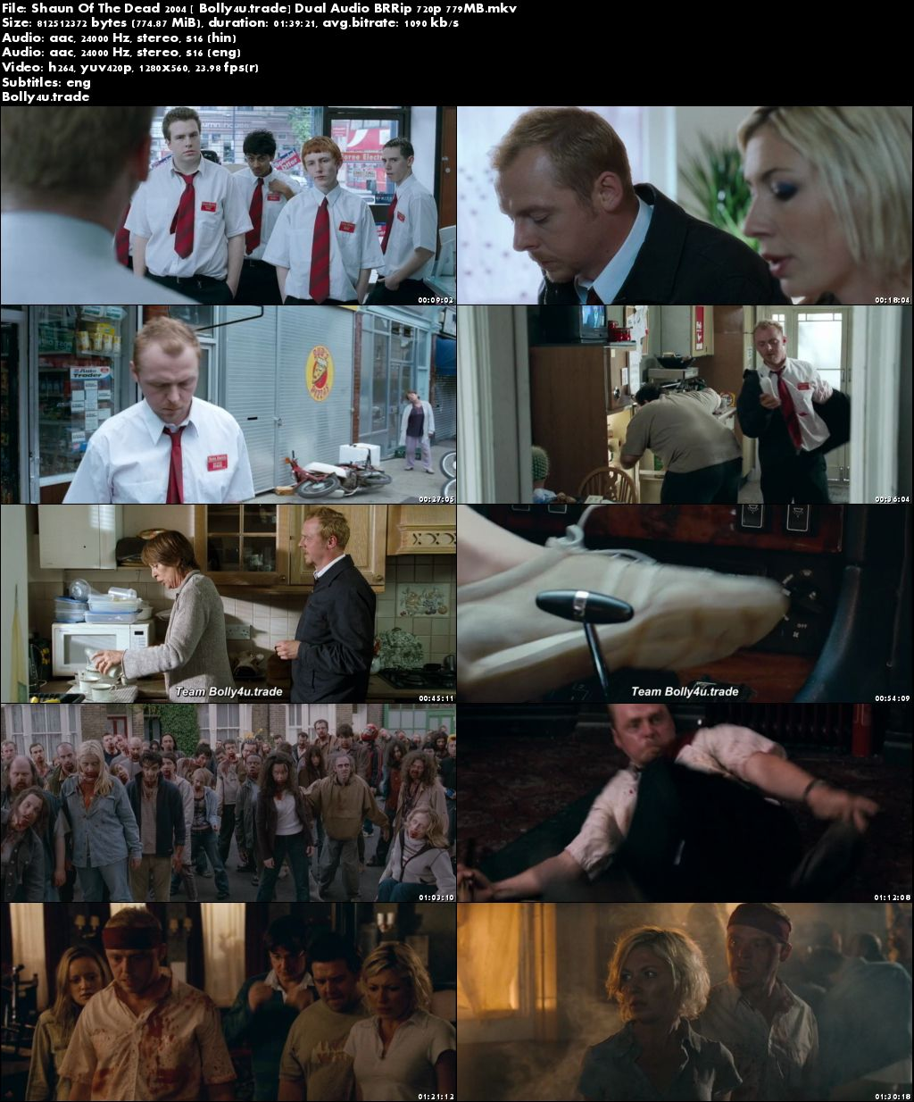Shaun Of The Dead 2004 BRRip 300MB Hindi Dual Audio 480p Download