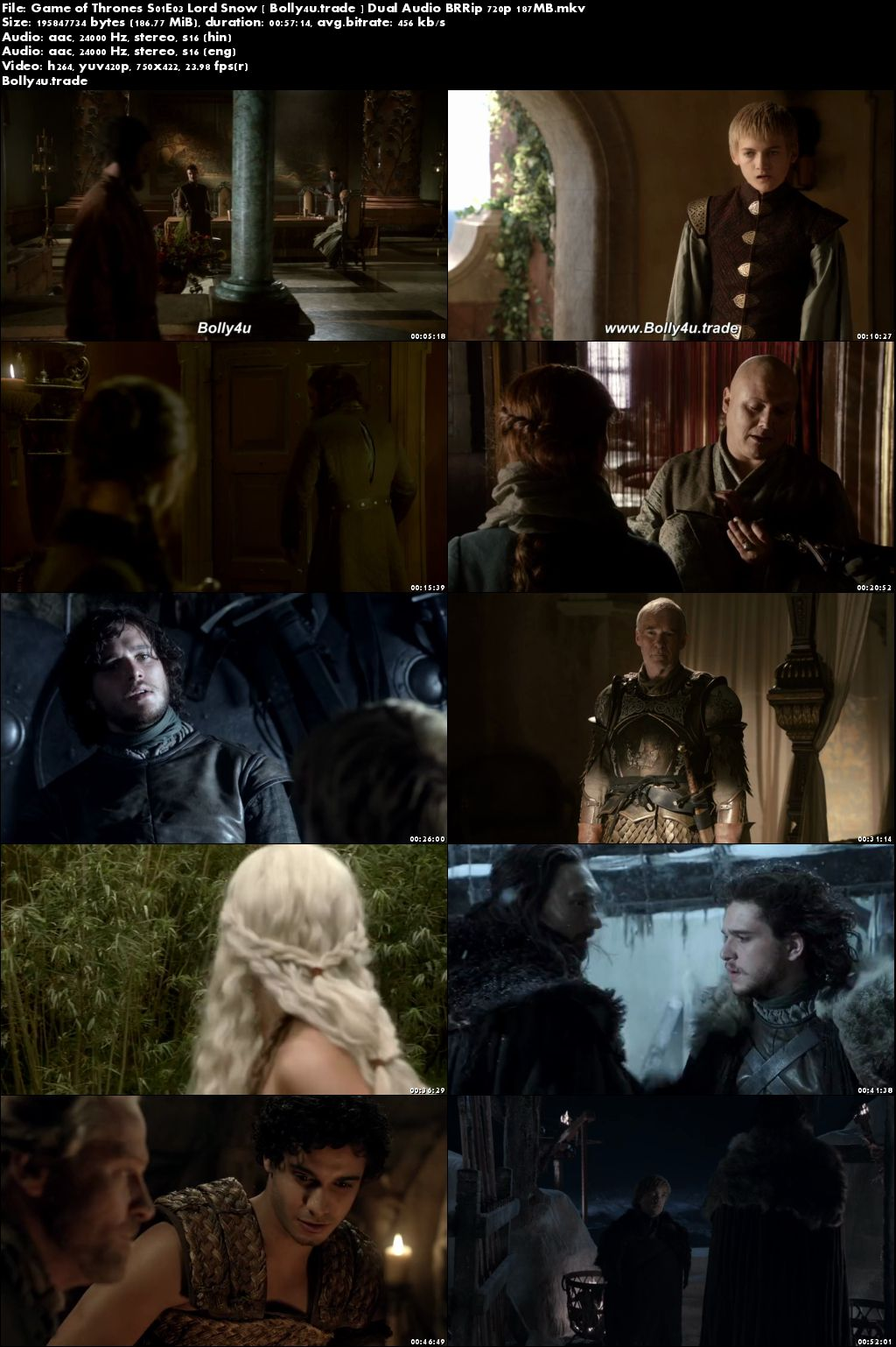 Game of Thrones S01E03 Lord Snow BRRip 180MB Hindi Dual Audio 480p Dpwm;pad