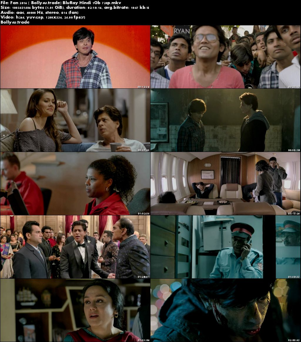 Fan 2016 BluRay 400Mb Full Hindi Movie Download 480p