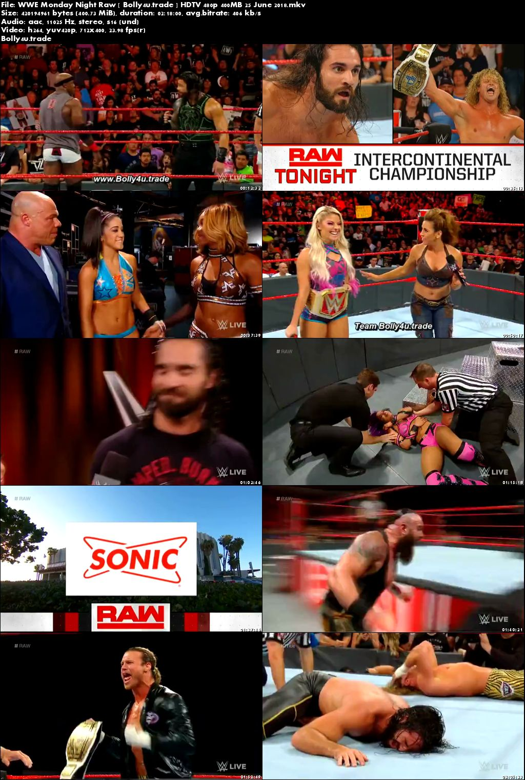 WWE Monday Night Raw HDTV 480p 400MB 25 June 2018 Download