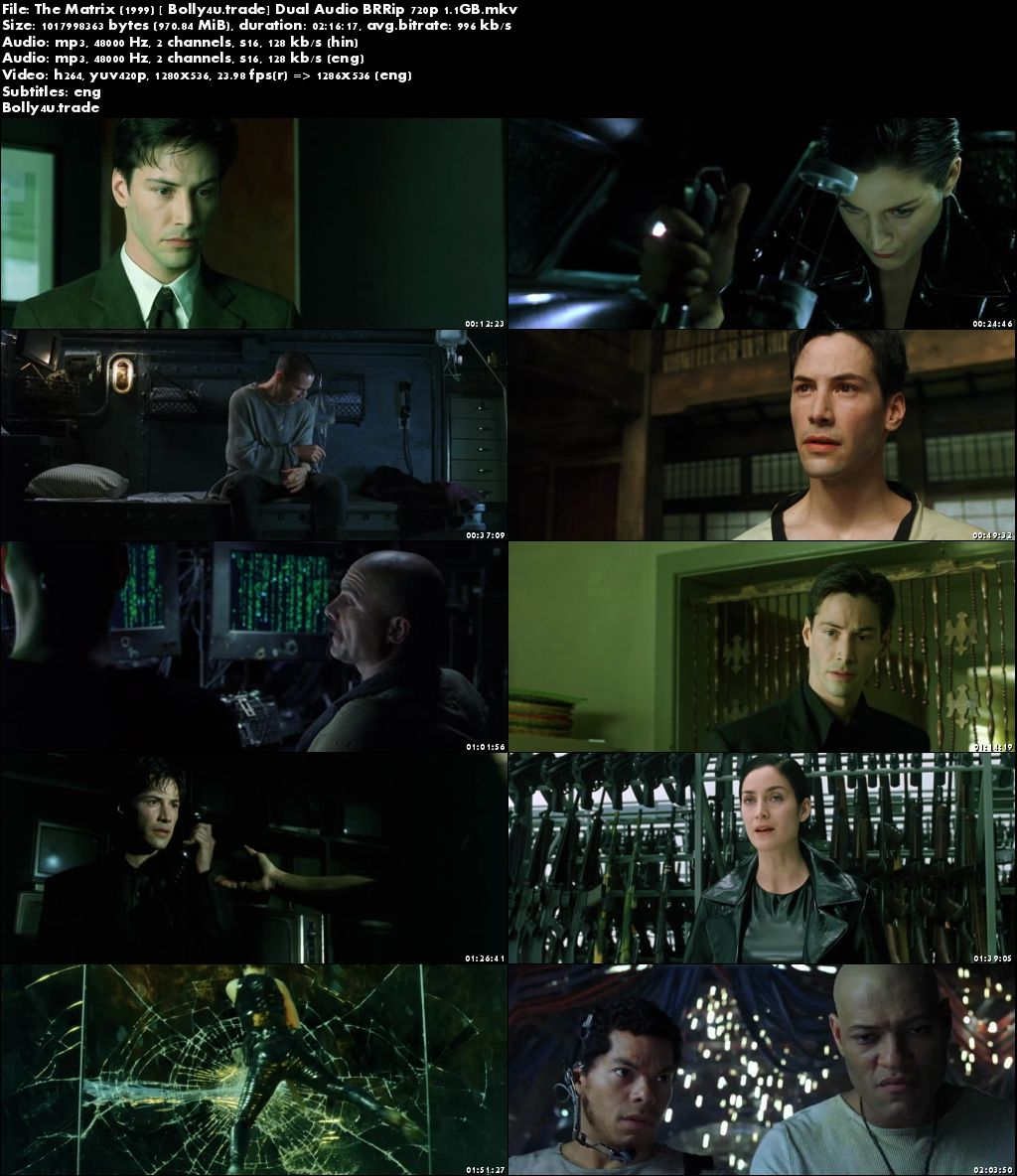The Matrix 1999 BluRay Hindi Dubbed Dual Audio 720p ESub Download