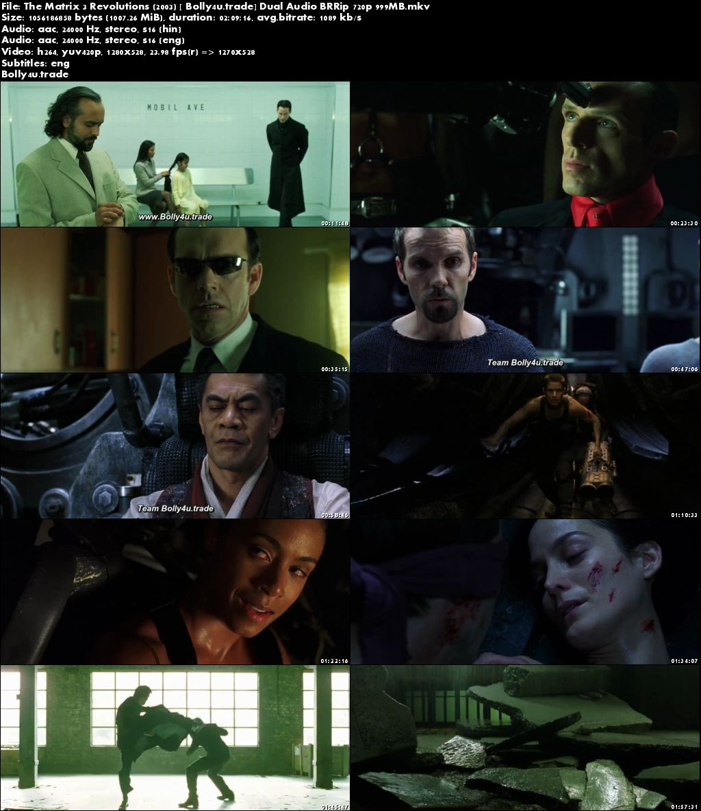 The Matrix 3 Revolutions 2003 BluRay 400MB Hindi Dual Audio 480p Download