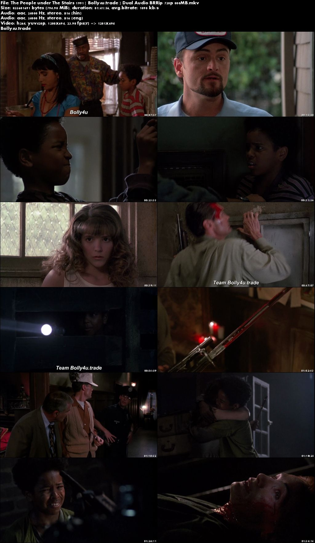The People Under The Stairs 1991 BRRip 800MB Hindi Dual Audio 720p Download