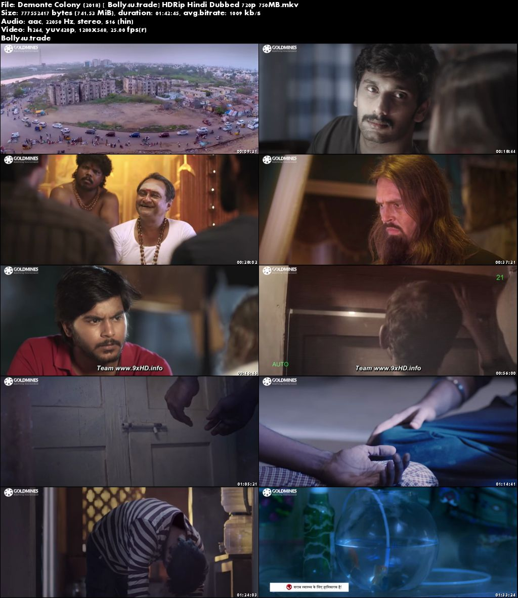 Demonte Colony 2018 HDRip 750MB Hindi Dubbed 720p Download
