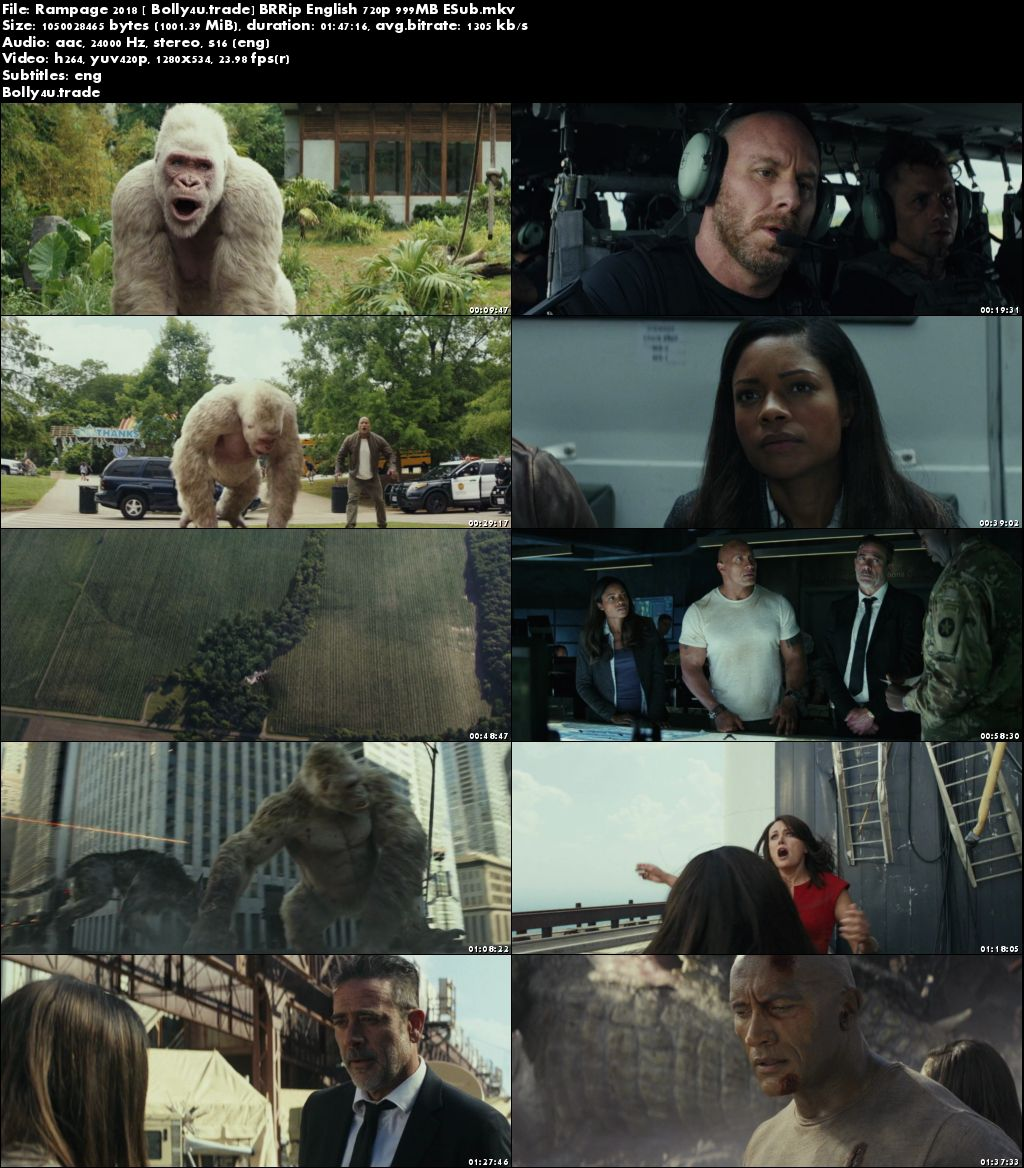 Rampage 2018 BRRip 999MB English 720p ESub Download
