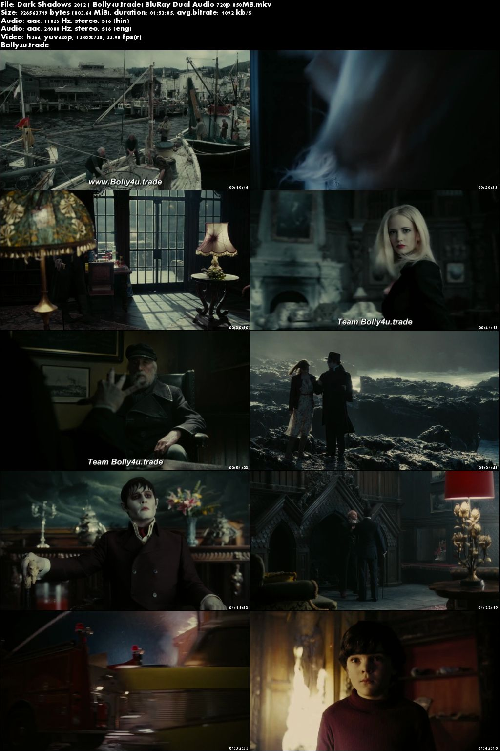 Dark Shadows 2012 BluRay 350MB Hindi Dual Audio 480p Download