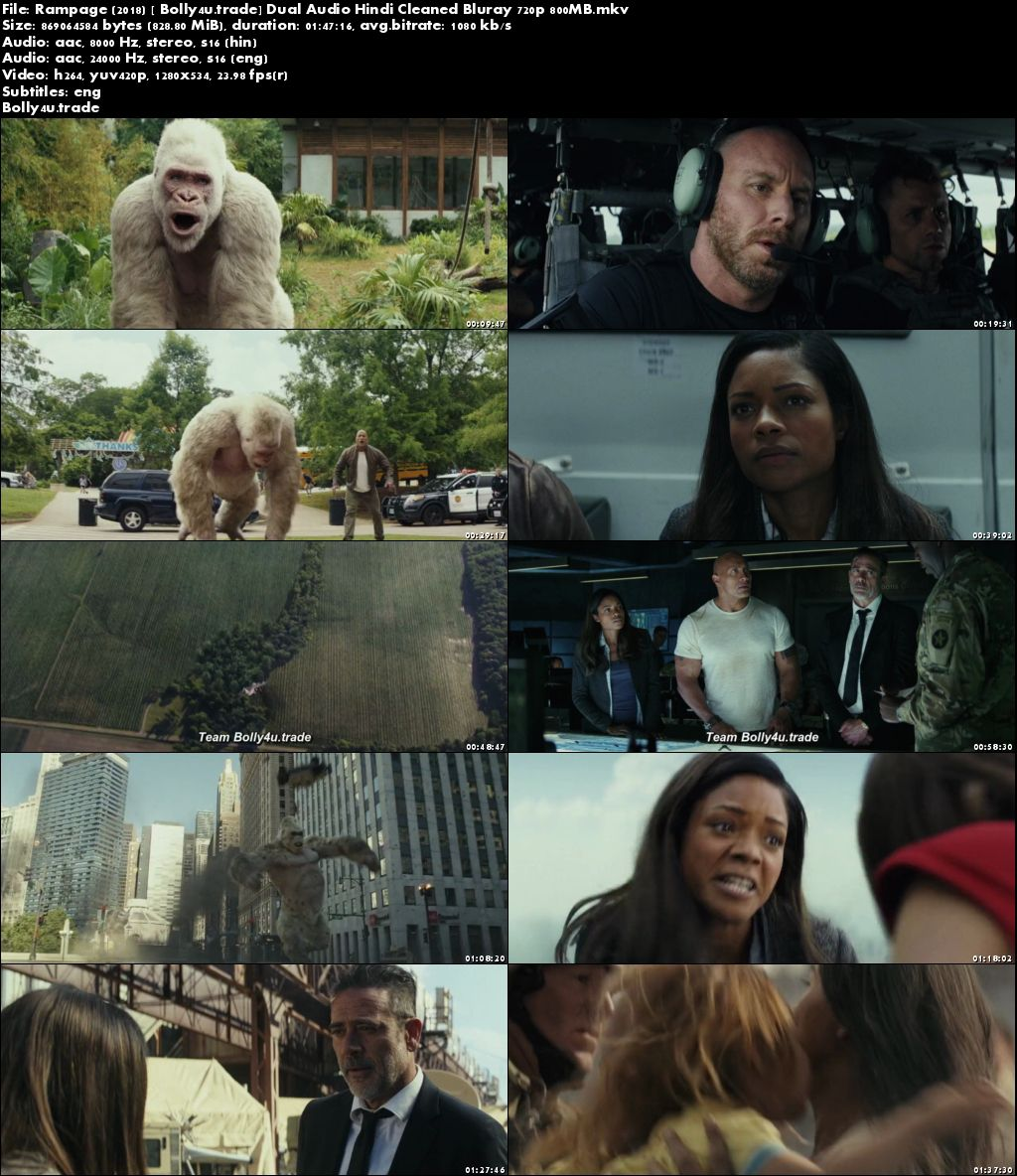 Rampage 2018 BluRay 900MB Hindi Dual Audio 720p Download