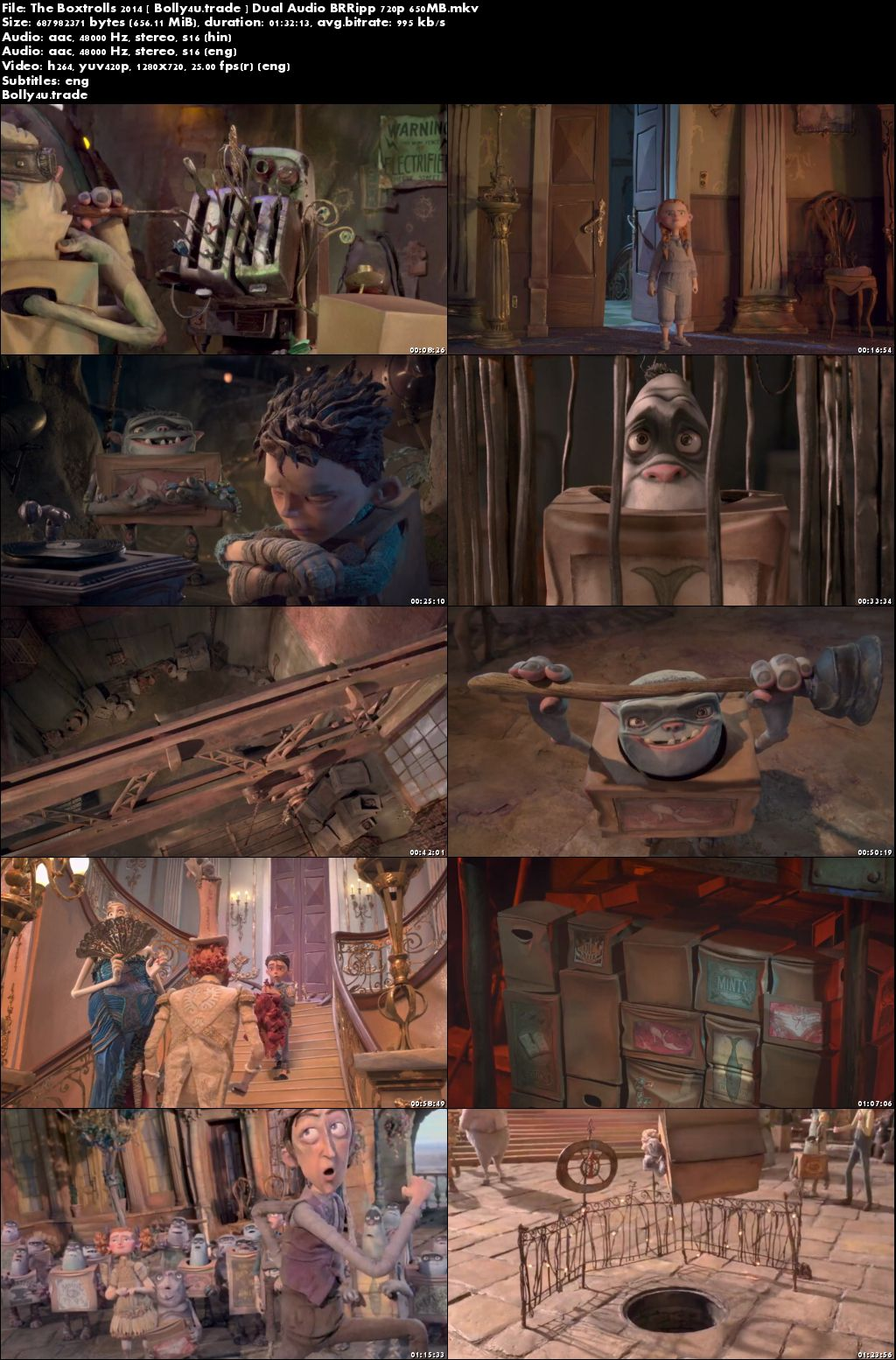The Boxtrolls 2014 BluRay 650Mb Hindi Dubbed Dual Audio 720p Download