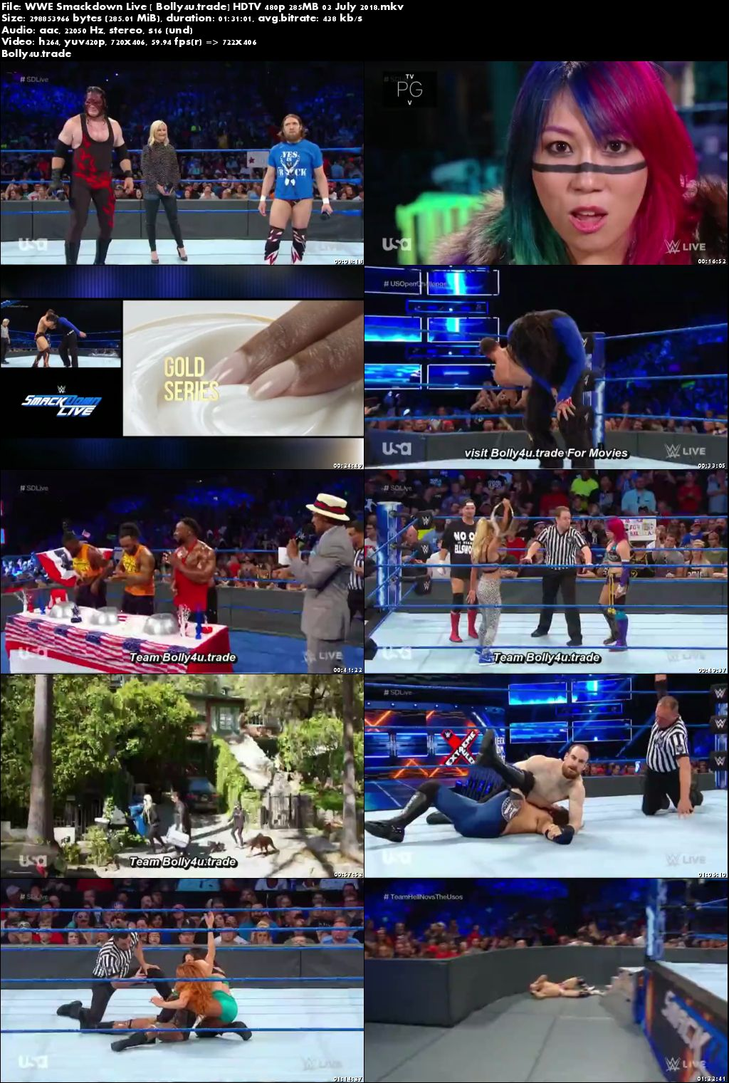 WWE Smackdown Live HDTV 480p 280MB 03 July 2018 Download