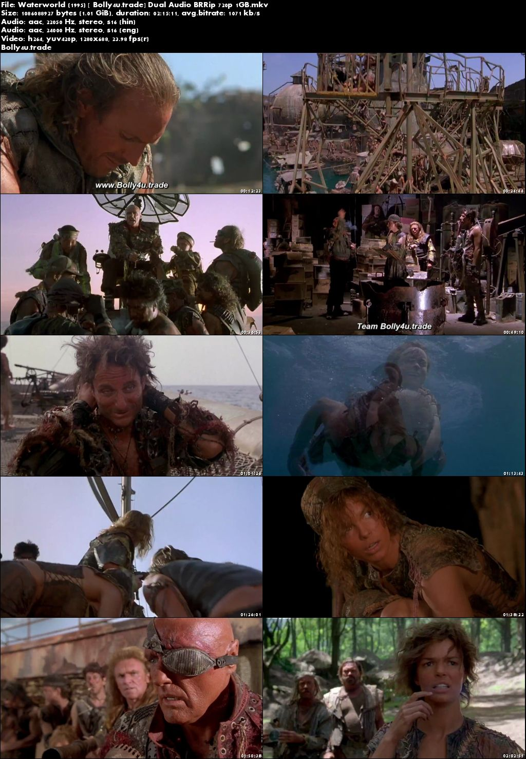 Waterworld 1995 BluRay 1GB Hindi Dual Audio 720p Download
